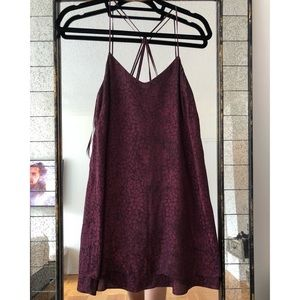 Topshop Petite Burgundy Satin Slip Dress